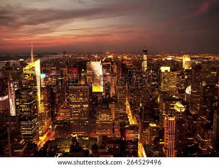 Aerial view of the New York City skyline at sunset - stock photo