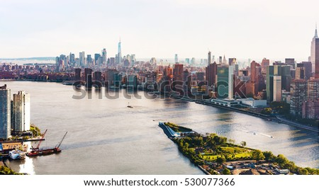 Aerial view of the New York City skyline near Midtown