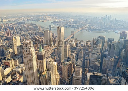 Aerial view of the New York City with three bridges. - stock photo