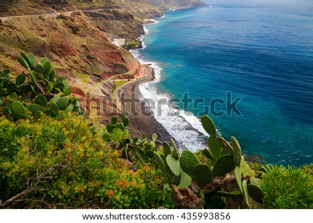 aerial view of the north-east coast of Tenerife with the beach Playa de las Gaviotas, Canary Islands, Spain