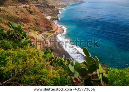 aerial view of the north-east coast of Tenerife with the beach Playa de las Gaviotas, Canary Islands, Spain - stock photo