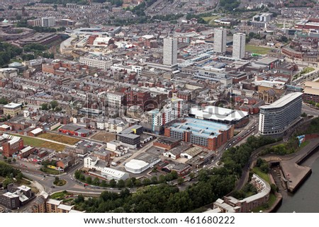 aerial view of the northern city of Sunderland, Tyne & Wear, UK