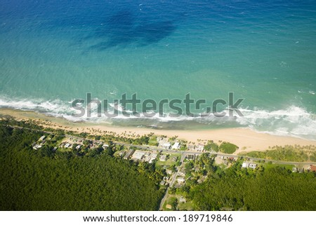 Aerial view of the Northern side of Puerto Rico.   - stock photo