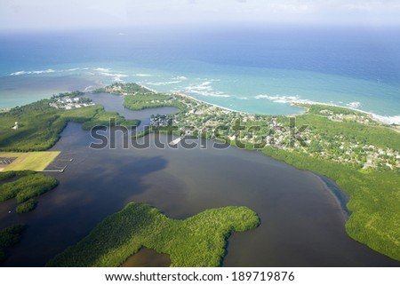 Aerial view of the Northern side of Puerto Rico.