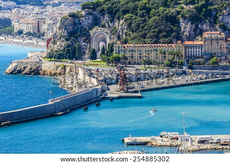 Aerial view of the old Harbor Lympia and the city architecture in Nice, Cote d'Azur. Port was built in 1745. - stock photo