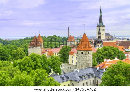 Aerial view of the old medieval city of Tallinn, Estonia - stock photo