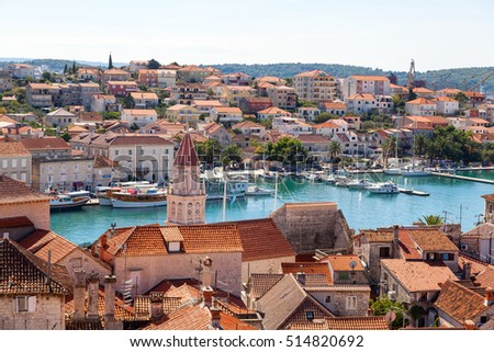 Aerial view of the Old town of TROGIR  seen from the  Cathedral of St. Lawrence tower (UNESCO World Heritage List since 1997), TROGIR, CROATIA on 23 SEPTEMBER 2016