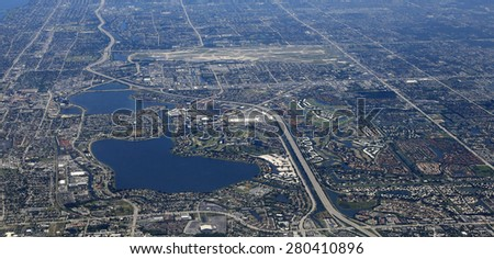 Aerial view of the Palm Beach International airport in West Palm Beach, Florida - stock photo