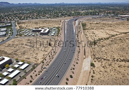Aerial view of the 101 Pima Freeway - stock photo