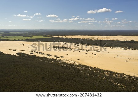 Aerial view of The Pinnacles Desert in Western Australia - stock photo