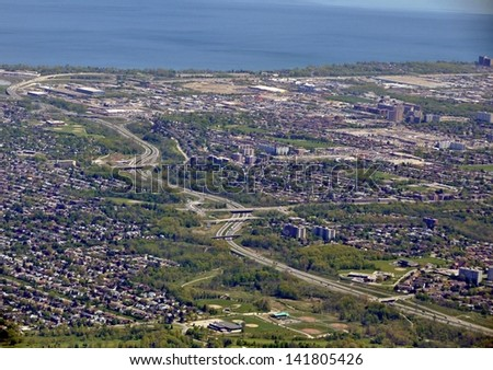 aerial view of the Red Hill Express way in Hamilton, Ontario, Canada - stock photo