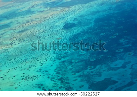 Aerial view of the Red Sea. Warning! Very smooth focus because of the altitude! - stock photo