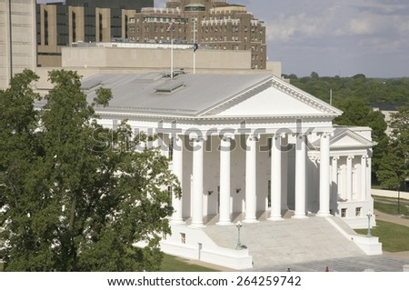 Aerial view of the 2007 restored Virginia State Capitol, designed by Thomas Jefferson who was inspired by Greek and Roman Architecture, Richmond, Virginia