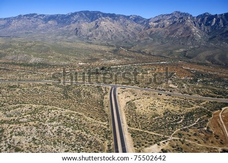 Aerial view of the Santa Catalina Mountains near Tucson, Arizona - stock photo