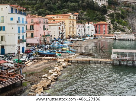 Aerial view of the sea in Sorrento, Italy. - stock photo