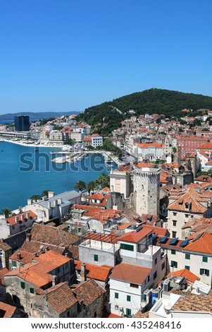 Aerial view of the seaside city of Split, a cruise destination, in Croatia - stock photo