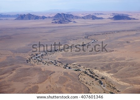 Aerial view of the Sesriem Canyon, Namibia, Africa - stock photo