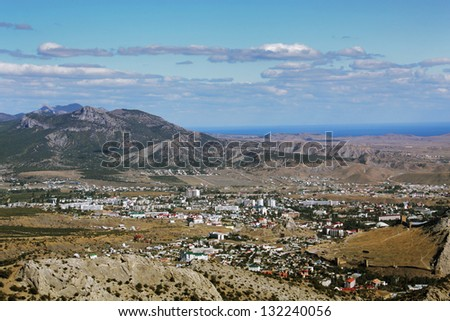 Aerial view of the small town, Sudak, Crimea