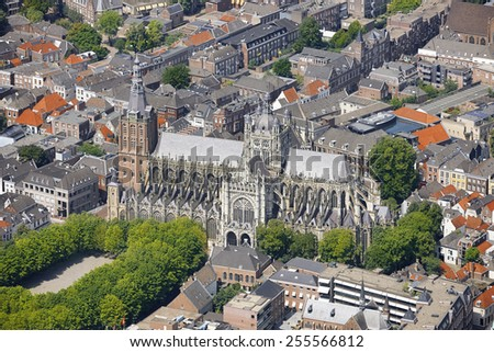Aerial view of the St. John cathedral in the city of 's-Hertogenbosch, province of Noord-Brabant, the Netherlands. - stock photo