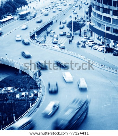 Aerial view of the Stack Interchange, lots of car in motion - stock photo