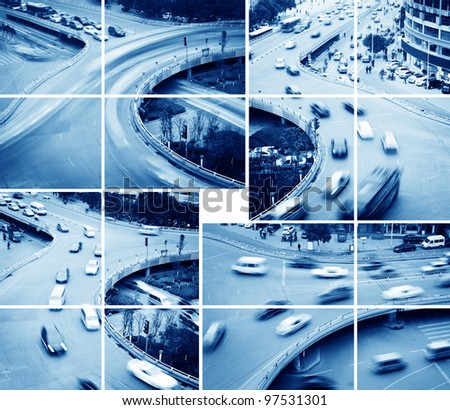 Aerial view of the Stack Interchange,lots of car in motion - stock photo