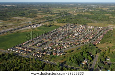 Aerial view of the subdivision in contemporary North American towns. - stock photo