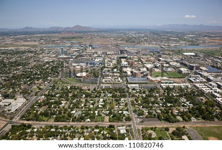 Aerial view of the Tempe skyline including the campus of Arizona State - stock photo