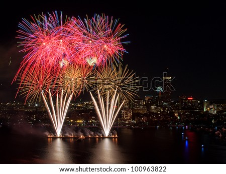 Aerial view of the 4th of July fireworks, Boston - stock photo