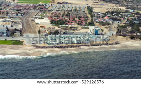 Aerial view of the town of Swakopmund on the east coast of Namibia.