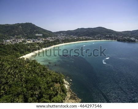 Aerial view of the tropical coast and beach of Kata in Phuket Island, Thailand.