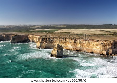 Aerial view of the Twelve Apostles at the Great Ocean Road in the Port Campbell National Park, Victoria, Australia.