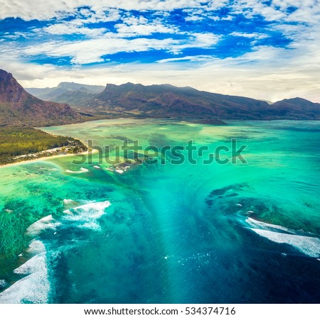 Aerial view of the underwater waterfall. Amazing Mauritius landscape