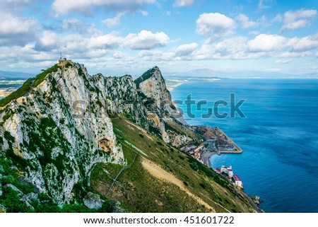 Aerial view of the upper rock on gibraltar. - stock photo
