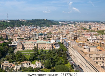 Aerial view of the Vatican City and Rome, Italy. Panorama of the old historical center. Gardens, Pinacoteca Vaticana, Vatican Museums, Belvedere Courtyard. View from the roof of Saint Peter Basilica. - stock photo