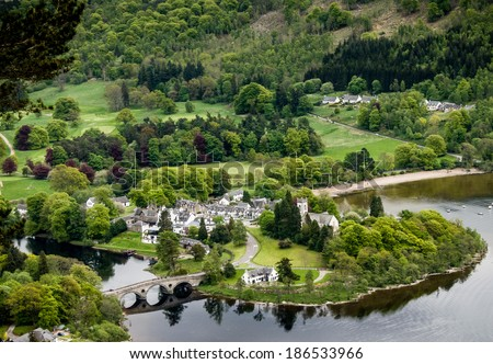 Aerial view of the village of Kenmore, Loch Tay, Scotland. - stock photo