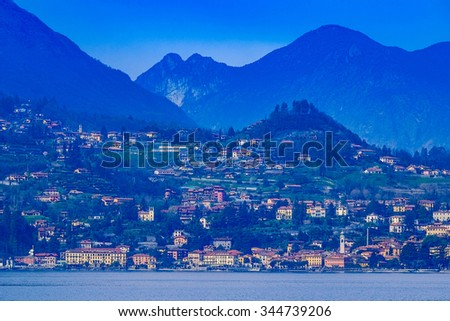 Aerial view of the village of Lake Como - Italy - stock photo