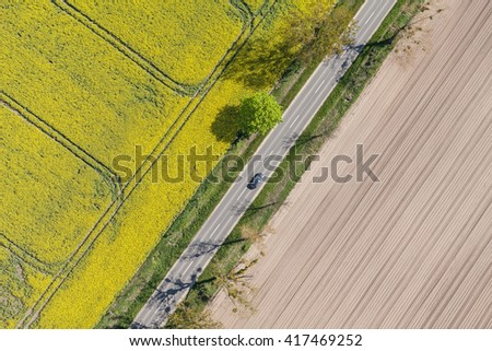 aerial view of  the yellow harvest fields in Poland - stock photo