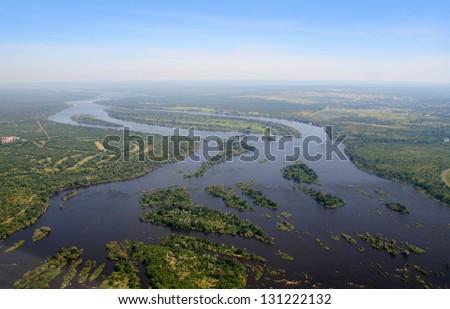Aerial view of the Zambezi river - stock photo