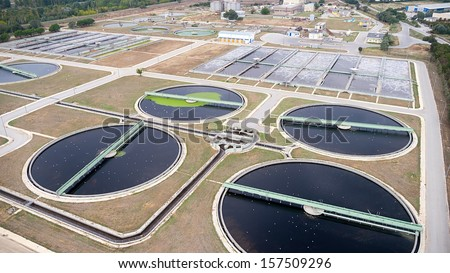 aerial view of Thessaloniki city sewage treatment plant - stock photo
