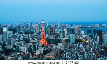 Aerial view of Tokyo city in twilight, Japan