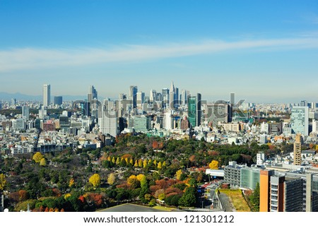 Aerial view of Tokyo in Autumn - stock photo