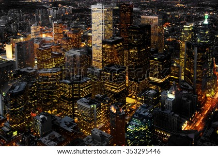 Aerial view of Toronto, Canada at night - stock photo