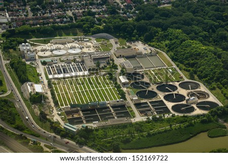 Aerial view of Toronto Sewage treatment plant - stock photo
