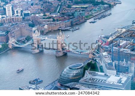 Aerial view of Tower Bridge, London - UK. - stock photo
