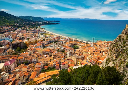 aerial view of town Cefalu from above, Sicily, Italy - stock photo