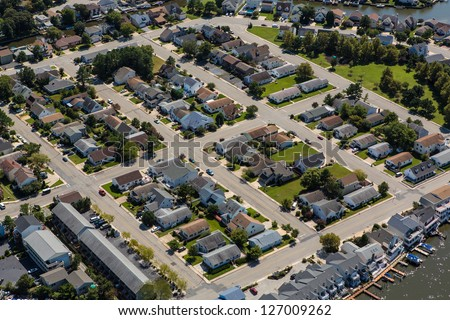 Aerial view of town of Ocean City Maryland