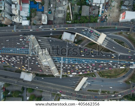 Aerial view of traffic at toll on expressway - stock photo