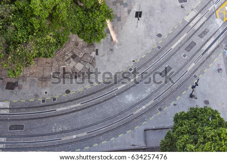 Aerial view of tram tracks