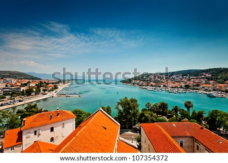 Aerial view of Trogir in Croatia - stock photo