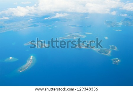 Aerial view of tropical islands near Palawan, Philippines - stock photo